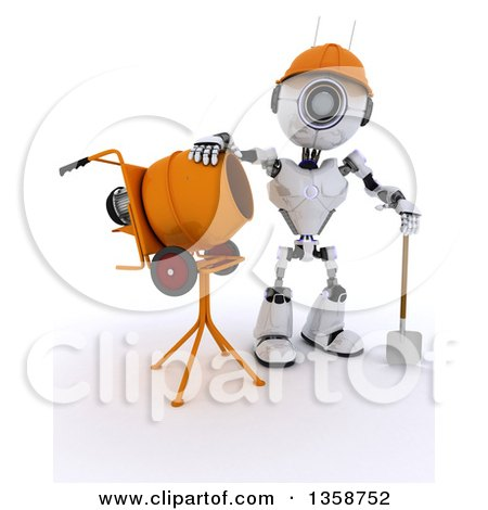 Clipart of a 3d Futuristic Robot Construction Worker Standing by a Cement Mixer, on a Shaded White Background - Royalty Free Illustration by KJ Pargeter