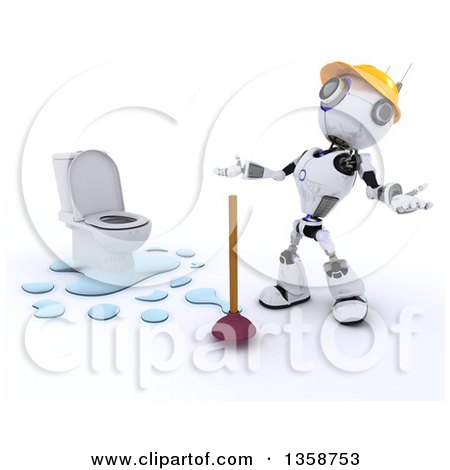 Clipart of a 3d Futuristic Robot Plumber by a Leaking Toilet, on a Shaded White Background - Royalty Free Illustration by KJ Pargeter