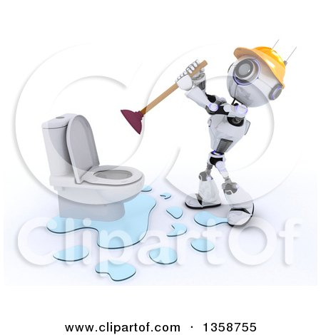 Clipart of a 3d Futuristic Robot Plumber Working on a Leaking Toilet, on a Shaded White Background - Royalty Free Illustration by KJ Pargeter
