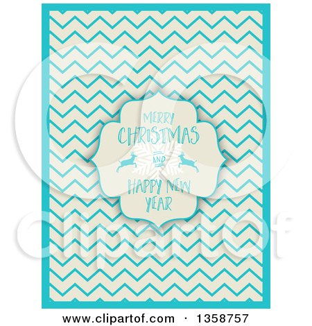 Clipart of a Merry Christmas and Happy New Year Frame with a Snowflake and Deer over a Retro Beige and Blue Chevron Pattern - Royalty Free Vector Illustration by KJ Pargeter
