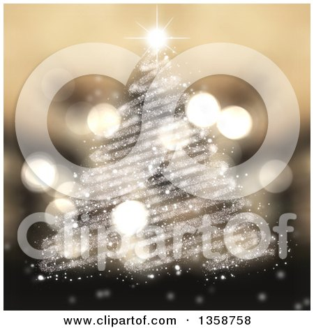 Clipart of a Christmas Tree Made of Scribble Lined Sparkles, with Flares over Blur - Royalty Free Illustration by KJ Pargeter