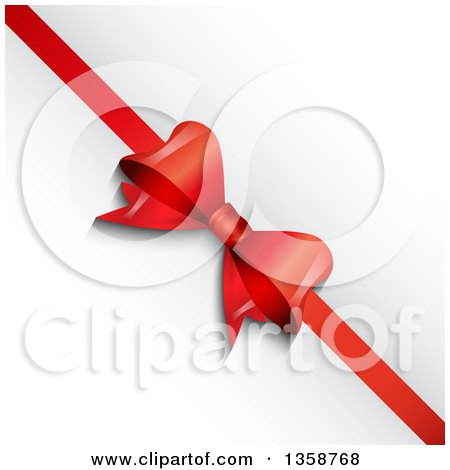 Clipart Of Red Christmas Gift Bows And Ribbons - Royalty