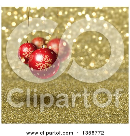 Clipart of a Christmas Background of 3d Red Snowflake Baubles Suspended over Gold Glitter - Royalty Free Illustration by KJ Pargeter