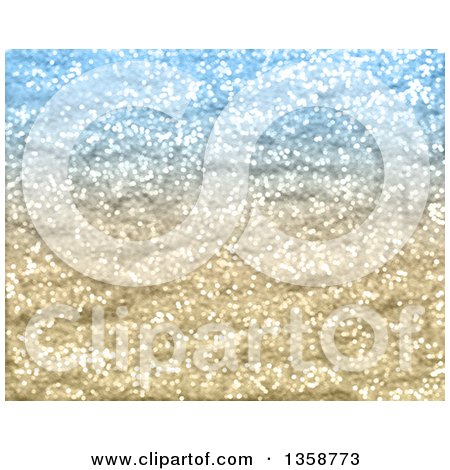 Clipart of a Blue and Gold Glitter Christmas Background - Royalty Free Illustration by KJ Pargeter