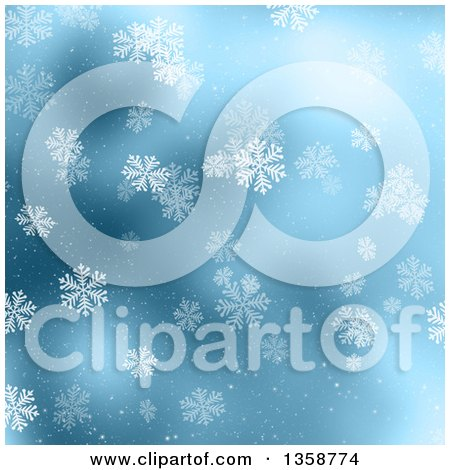 Clipart of a Christmas Winter Background of Snowflakes Falling over Blue - Royalty Free Illustration by KJ Pargeter
