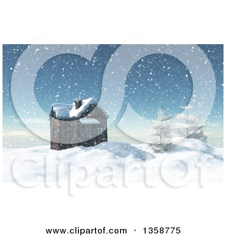 Clipart of a 3d House and Trees on Top of a Snow Covered Winter Mountain - Royalty Free Illustration by KJ Pargeter