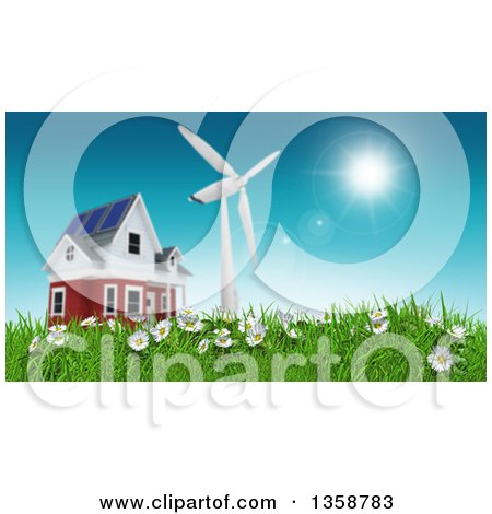 Clipart of a Low Angle View of a 3d Rural House with a Windmill on a Green Hill with Daisies - Royalty Free Illustration by KJ Pargeter