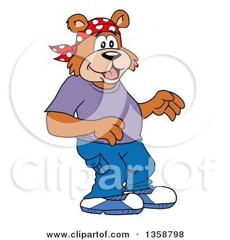 Clipart of a Cartoon Surprised Bear Rapper - Royalty Free Vector Illustration by LaffToon