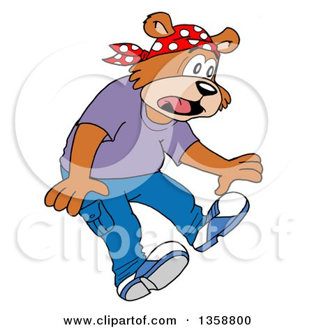 Clipart of a Cartoon Scared Bear Rapper - Royalty Free Vector Illustration by LaffToon
