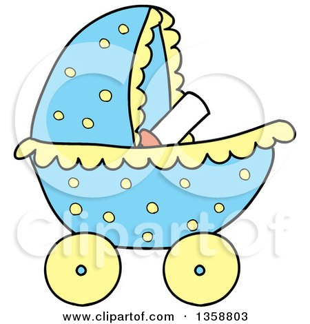 Clipart of a Cartoon Blue Polka Dot Baby Boy Stroller - Royalty Free Vector Illustration by LaffToon