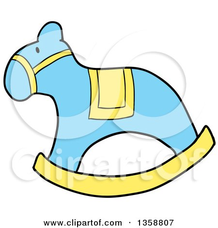 Clipart of a Cartoon Blue and Yellow Rocking Horse - Royalty Free Vector Illustration by LaffToon