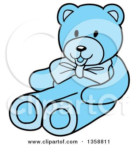 Clipart of a Cartoon Blue Boy's Teddy Bear - Royalty Free Vector Illustration by LaffToon