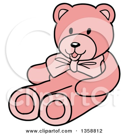 Clipart of a Cartoon Pink Girl's Teddy Bear - Royalty Free Vector Illustration by LaffToon