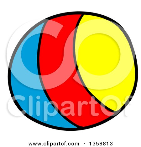 Clipart of a Cartoon Blue Red and Yellow Striped Toy Ball - Royalty Free Vector Illustration by LaffToon