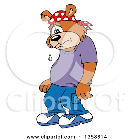 Clipart Of A Cartoon Sad Crying Bear Rapper - Royalty Free Vector Illustration by LaffToon