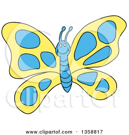 Clipart of a Cartoon Happy Yellow and Blue Butterfly - Royalty Free Vector Illustration by LaffToon