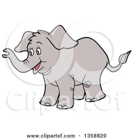 Clipart of a Cartoon Happy Baby Elephant - Royalty Free Vector Illustration by LaffToon