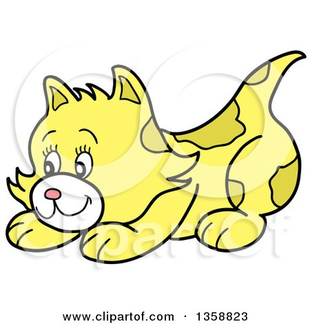 Clipart of a Cartoon Playful Yellow Kitten - Royalty Free Vector Illustration by LaffToon