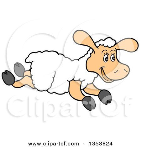 Clipart of a Cartoon Happy Running Lamb - Royalty Free Vector Illustration by LaffToon
