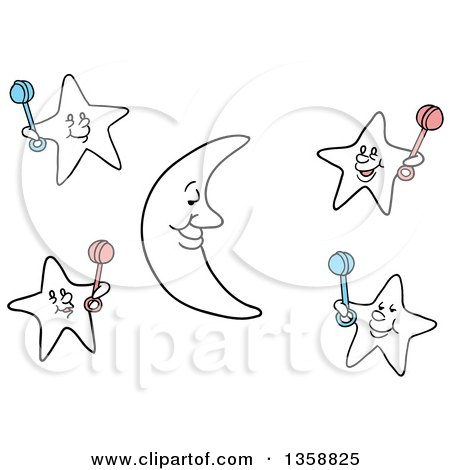 Clipart of a Cartoon Crescent Moon and Stars Holding Baby Rattles - Royalty Free Vector Illustration by LaffToon
