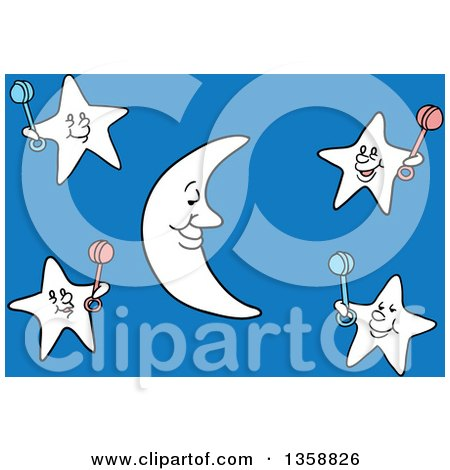 Clipart of a Cartoon Crescent Moon and Stars Holding Baby Rattles over Blue - Royalty Free Vector Illustration by LaffToon