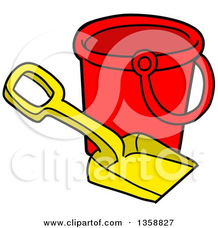 Clipart of a Cartoon Beach Bucket and Shovel Toy - Royalty Free Vector Illustration by LaffToon