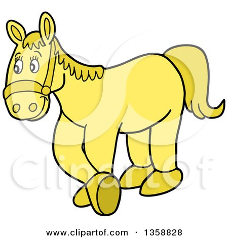 Clipart of a Cartoon Yellow Horse - Royalty Free Vector Illustration by LaffToon