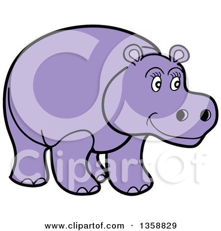 Clipart of a Cartoon Happy Purple Hippopotamus - Royalty Free Vector Illustration by LaffToon