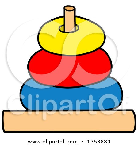 Clipart of a Cartoon Ring Toss or Stack Toy - Royalty Free Vector Illustration by LaffToon