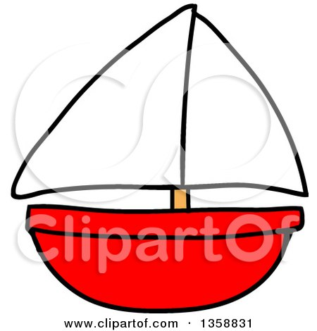 Clipart of a Cartoon Red Toy Sailboat - Royalty Free Vector Illustration by LaffToon