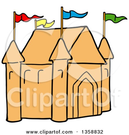 Clipart of a Cartoon Sand Castle with Colorful Flags on the Turrets - Royalty Free Vector Illustration by LaffToon