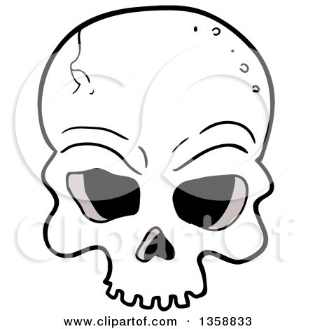 Clipart of a Cartoon Cracked Human Skull - Royalty Free Vector Illustration by LaffToon