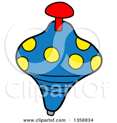 Clipart of a Cartoon Spinning Top Toy - Royalty Free Vector Illustration by LaffToon