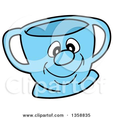 Cartoon Blue Happy Tea Cup Posters, Art Prints
