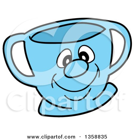 Clipart of a Cartoon Blue Happy Tea Cup - Royalty Free Vector Illustration by LaffToon