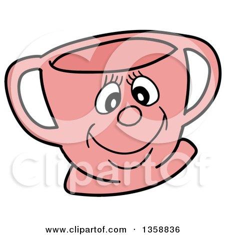 Cartoon Pink Happy Tea Cup Posters, Art Prints