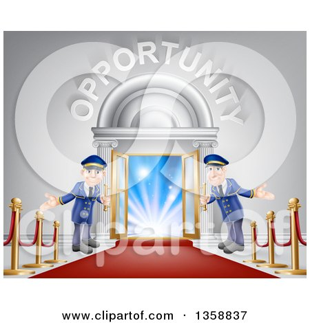 Clipart of Welcoming Door Men at an Entry with a Red Carpet and Posts Under Opportunity Text - Royalty Free Vector Illustration by AtStockIllustration