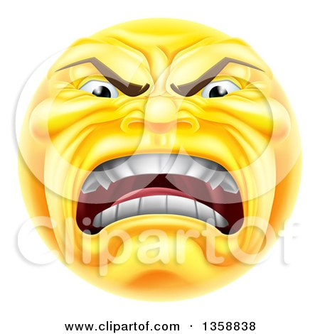 Clipart of a 3d Furious Yellow Smiley Emoji Emoticon Face Shouting - Royalty Free Vector Illustration by AtStockIllustration