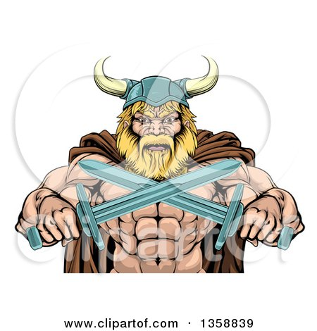Clipart of a Cartoon Tough Muscular Blond Male Viking Warrior in a Cape and Helmet, Holding Crossed Swords, from the Waist up - Royalty Free Vector Illustration by AtStockIllustration