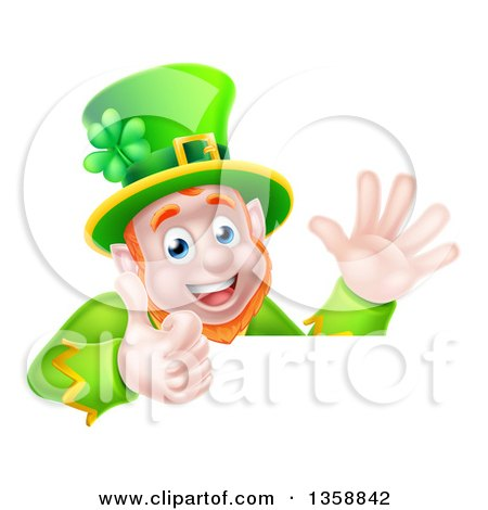 Clipart of a Cartoon Happy St Patricks Day Leprechaun Giving a Thumb up and Waving over a Sign - Royalty Free Vector Illustration by AtStockIllustration