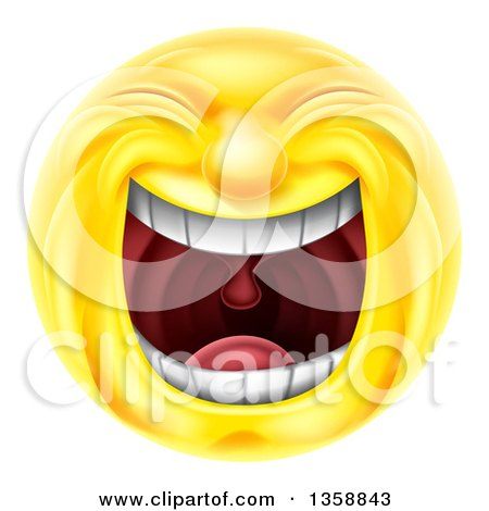 Clipart of a 3d Yellow Smiley Emoji Emoticon Face Laughing Hysterically - Royalty Free Vector Illustration by AtStockIllustration