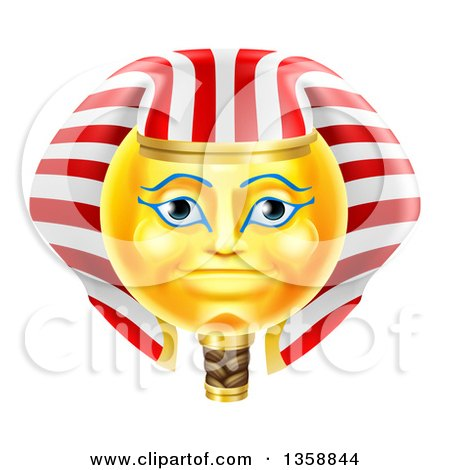 Clipart of a 3d Yellow Smiley Egyptian Pharaoh Emoji Emoticon Face - Royalty Free Vector Illustration by AtStockIllustration