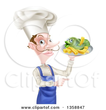 Clipart of a White Male Chef with a Curling Mustache, Holding a Fish and Chips on a Tray and Pointing - Royalty Free Vector Illustration by AtStockIllustration
