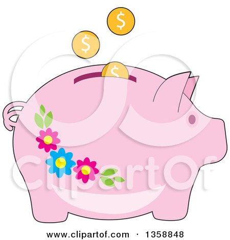 Clipart of Coins Depositing into a Pink Floral Piggy Bank - Royalty Free Vector Illustration by Maria Bell