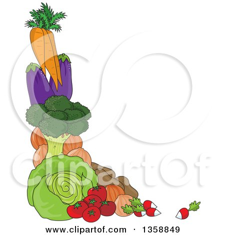 Clipart of a Corner Border of Carrots, Eggplants, Broccoli, Cabbige, Potatoes, Tomatoes, Onions and Radishes - Royalty Free Vector Illustration by Maria Bell