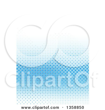 Clipart of a Background of Blue Tiles Fading to White - Royalty Free Vector Illustration by dero