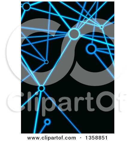Clipart of a Background of Neon Blie Connections on Black - Royalty Free Vector Illustration by dero