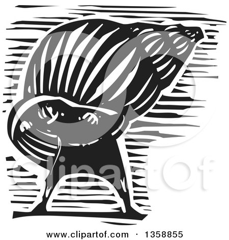 Clipart of a Black and White Woodcut Introvert Hermit Man in a Shell - Royalty Free Vector Illustration by xunantunich