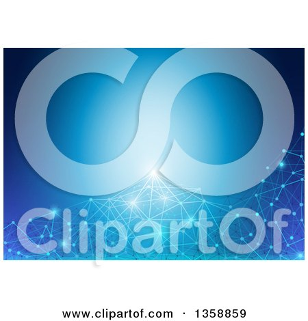 Clipart of a Background of Glowing Connections over Blue - Royalty Free Vector Illustration by dero