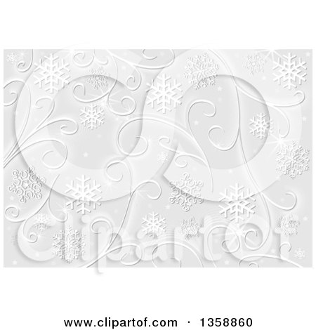 Clipart of a Christmas Background of White Snowflakes, Stars and Swirls on Gray - Royalty Free Vector Illustration by dero